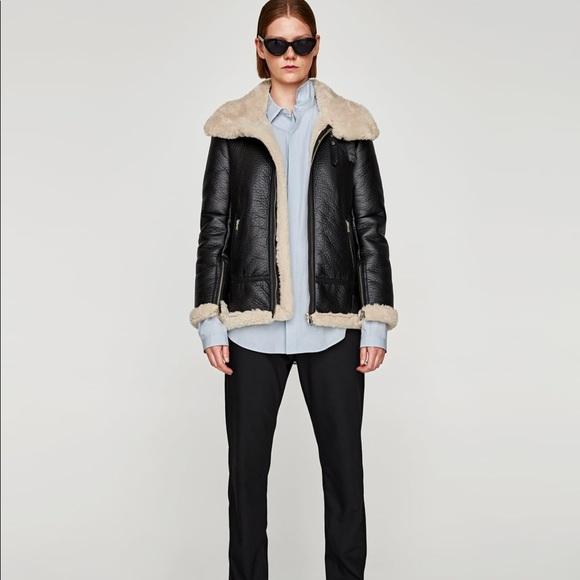 a1b4a7e3 Zara Jackets & Coats | Faux Leather Aviator Jacket | Poshmark